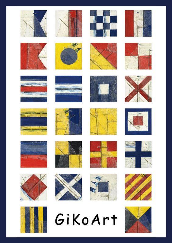 Gikoart Flaggenalphabet mit Schiffsmotiven Poster A-Z
